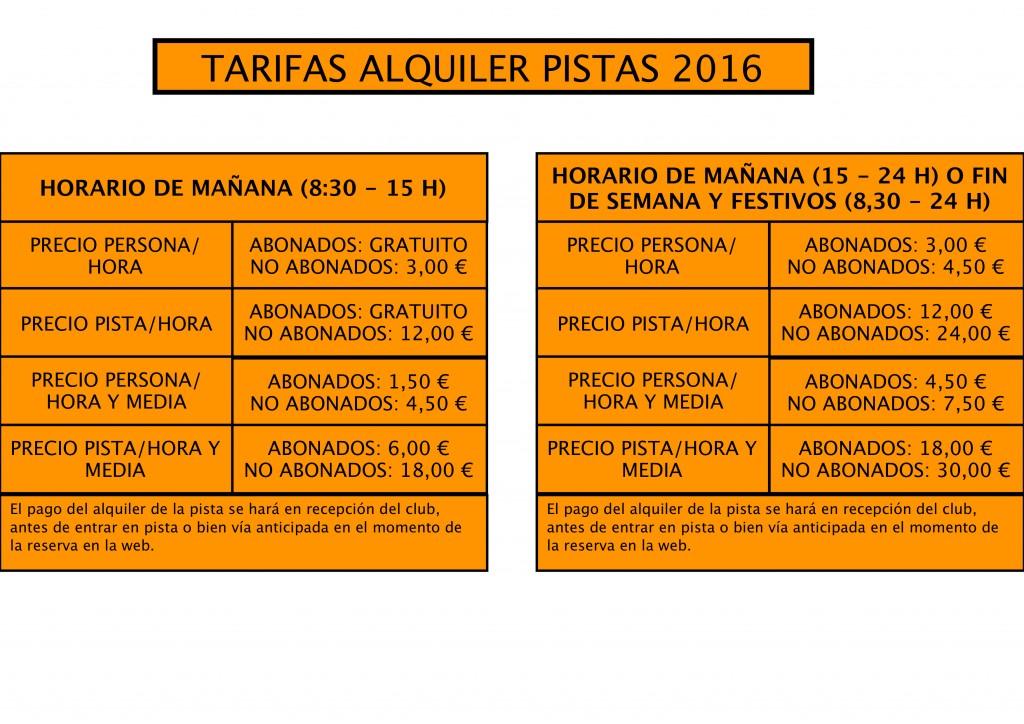 TARIFAS PISTAS